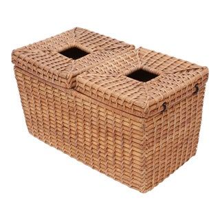 Vintage Wood Wicker Rattan Tissue Box Cover