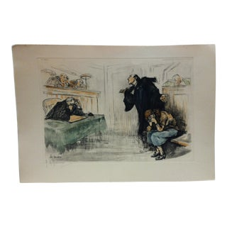 "1930s Vintage ""Le Tendre"" French Hand-Colored Print by G. Hoffmann For Sale"