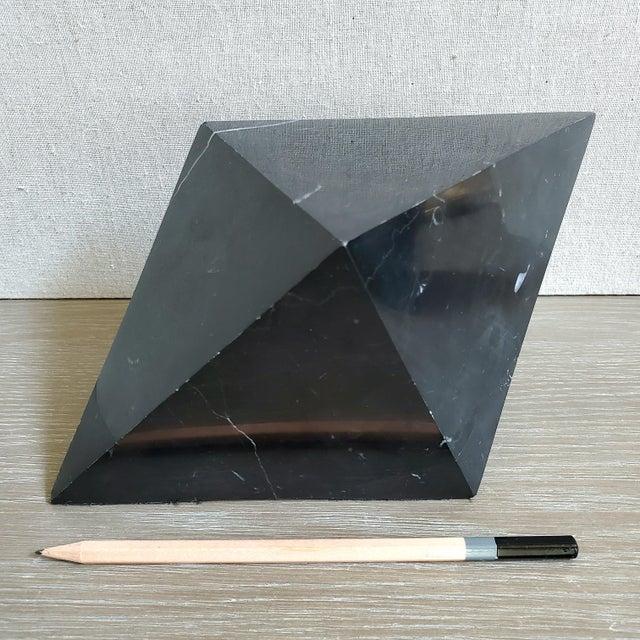 Black Geometric Octahedron Marble Sculptures - Set of 3 For Sale - Image 8 of 12