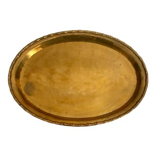 1970s Faux Bamboo Brass Oval Serving Tray For Sale