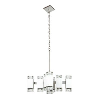 Brushed Aluminum Chandelier in the Style of Kalmar For Sale