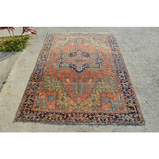 "Antique Persian Heriz Rug - 6'10"" X 9'11"" - Image 2 of 6"