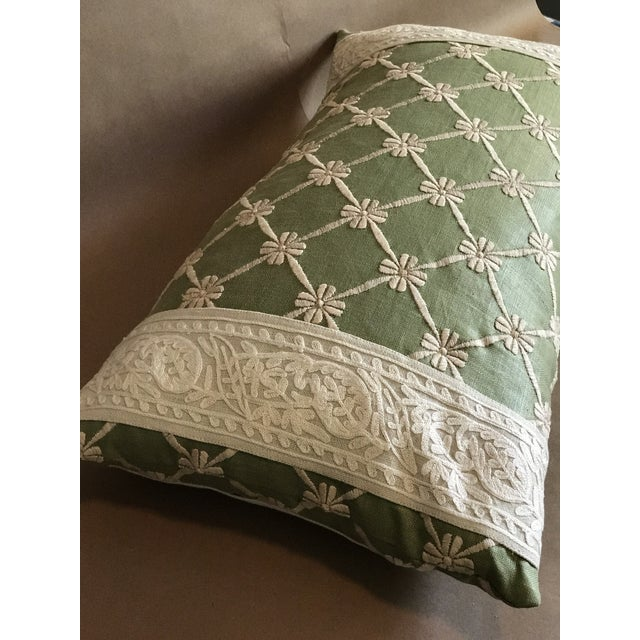 Transitional Green Pillow W/ Natural Embroidered Flower Lattice For Sale - Image 9 of 11