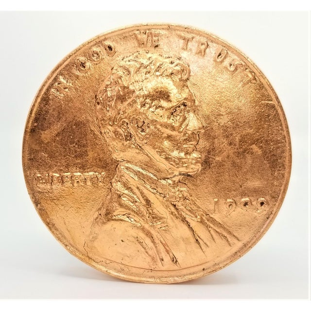 Pop Art Vintage Sculpture of an Overscaled Copper Penny - Signed and Dated - Andy Warhol Abstract Mid Century Modern Surrealism Palm Beach For Sale - Image 13 of 13