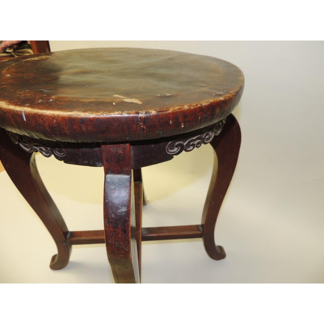 Asian Round Asian Side Table With Carved Apron and Turned Wood Legs For Sale - Image 3 of 8