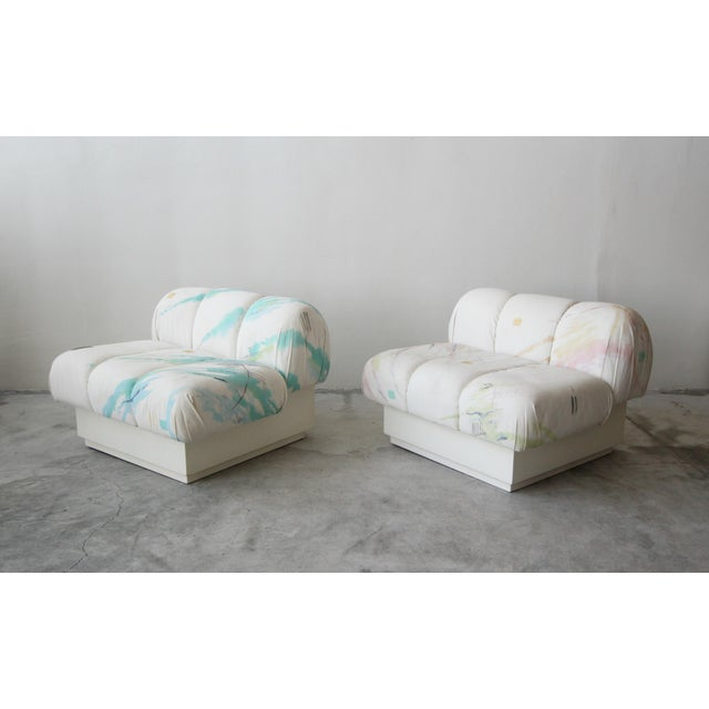 1990s Custom Post Modern Italian Style Pair of Slipper Chairs Artist Signed Fabric For Sale - Image 5 of 9