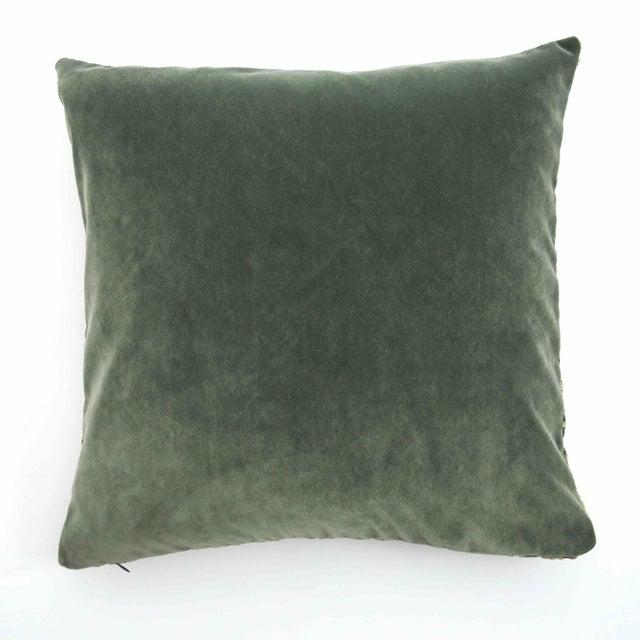 FirmaMenta Italian Damask Velvet Forest Green and Gray Leaf Pillow For Sale - Image 4 of 5