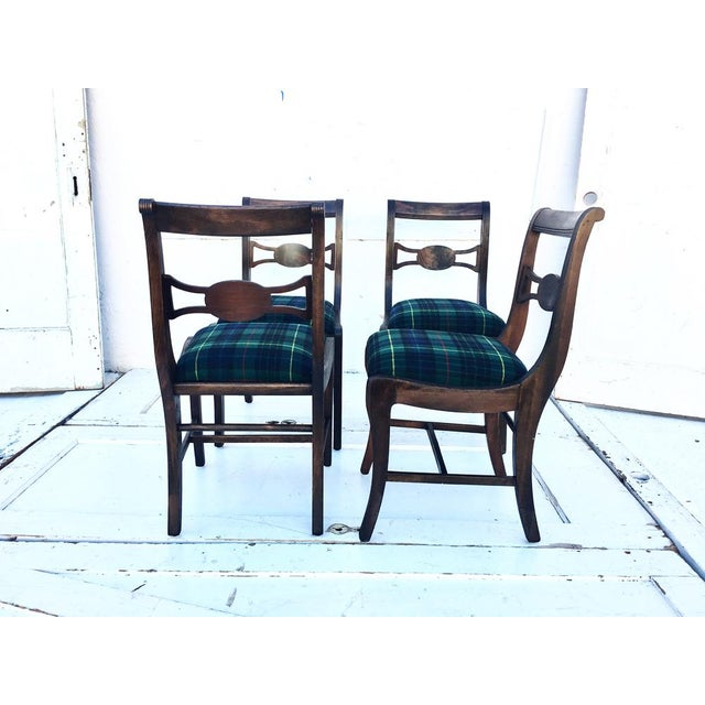 Cottage Rustic Farmhouse Antique Dining Chairs With Wool Plaid Seats- Set of 4 For Sale - Image 3 of 4
