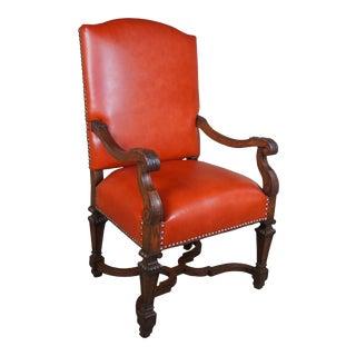 Antique 19th Century Italian Oak Arm Chair Tuscan Spanish Revival Orange Leather For Sale