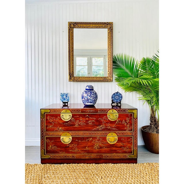 Chinoiserie Lowboy chest of 2 drawers with Rosewood veneers by Drexel. The gorgeous round drawer pulls and corner accents...