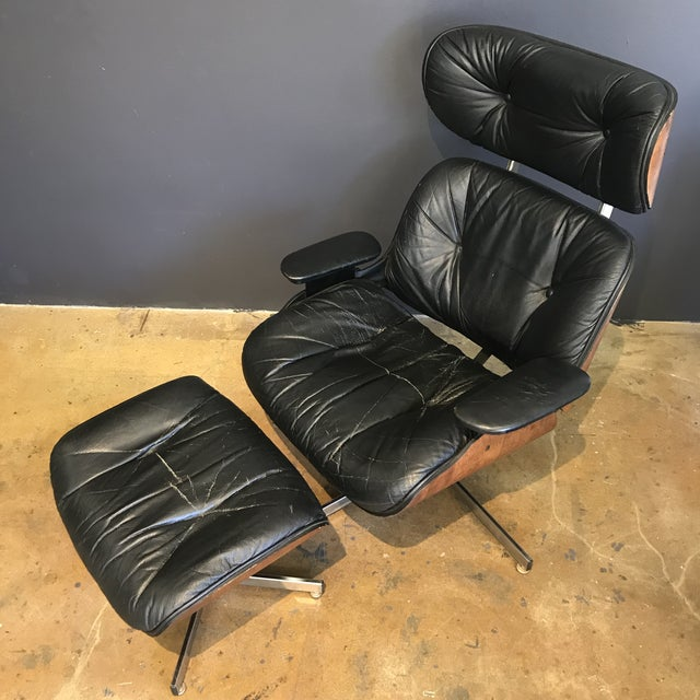 Mid-Century Eames Style Lounge Chair & Ottoman - Image 3 of 9