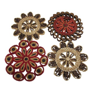 Vintage Set of Four (4) Small Woven Abaca Round Trivets in Natural Fiber For Sale