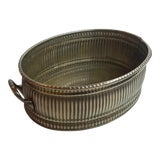 Image of Vintage Brass Oval Ribbed Planter For Sale