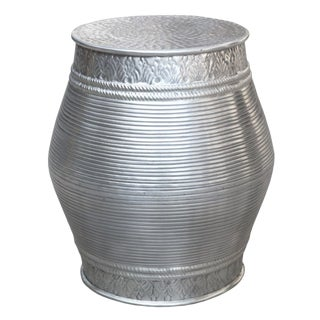 Grooved Metallic Aluminum Handmade Embossed Stool For Sale