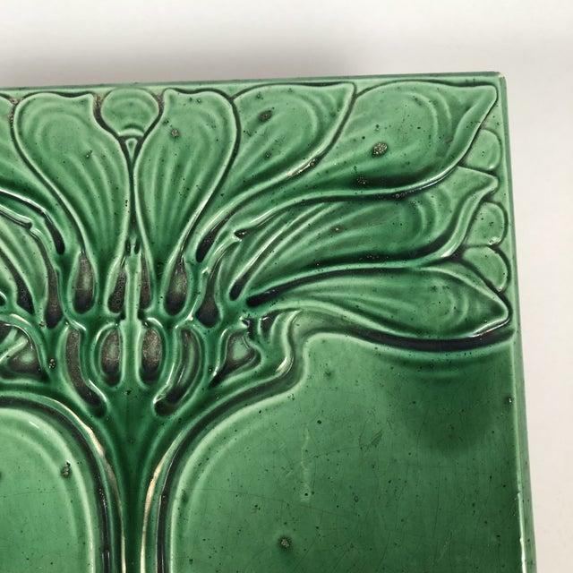 Ceramic Art Nouveau Emerald Green Glazed Tree Ceramic Tile For Sale - Image 7 of 11