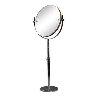 Large Height-Adjustable Nickel Vanity or Shaving Mirror, Sweden, 1950s For Sale