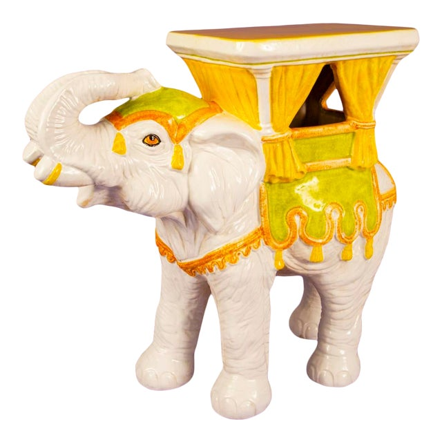 1960's Mid-Century Hand Painted Italian Elephant Plant Stand For Sale