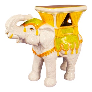 Hand Painted Italian Elephant Plant Stand For Sale