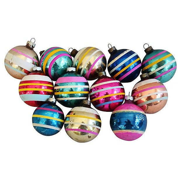 1960s Striped Christmas Ornaments w/Box - Set of 12 - Image 5 of 7