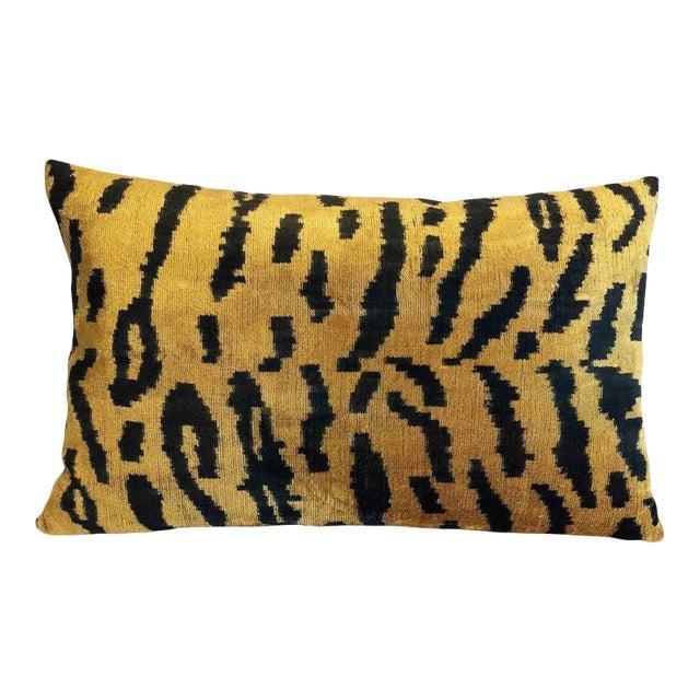Silk Velvet Tiger Accent Lumbar Pillow For Sale