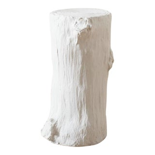 Faux Bois White Plaster Log Side Table For Sale