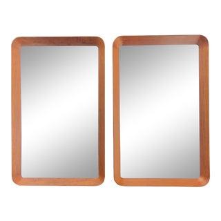 Mid Century Danish Modern Teak Mirrors by Pedersen & Hansen of Denmark, a Pair For Sale
