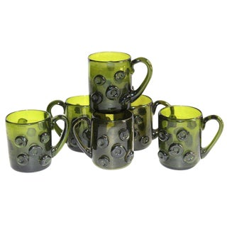 Mid Century Modern Bottle Green Glass Mugs, Set of Six For Sale