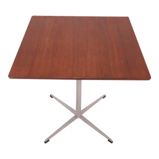 """Arne Jacobsen """"Shaker"""" Cafe Table in Teak and Aluminum, Denmark For Sale"""