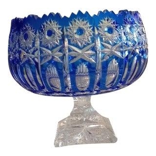 Vintage Bohemian Royal Blue Lead Crystal Pedestal Bowl For Sale