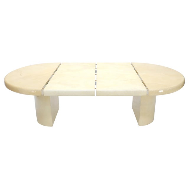 Large Round Lacquered Parchment Goat Skin Cylinder Base Dining Table 2 Leaves For Sale - Image 13 of 13