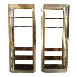 Brass Etegeres with Smoked Glass Shelves and Beautiful Curved Design - a Pair