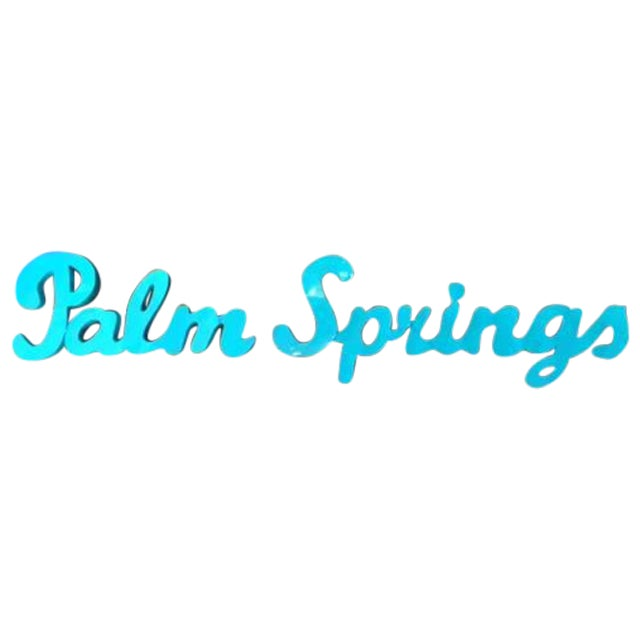 Industrial Blue Palm Springs Metal Sign For Sale