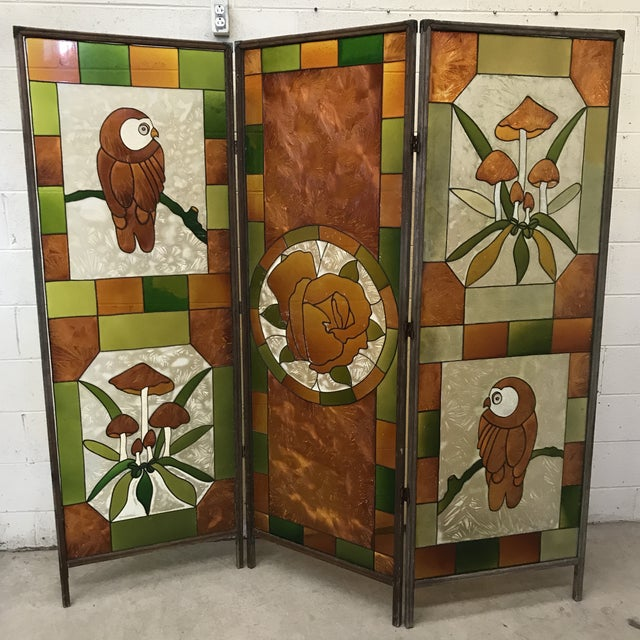 Green Mid Century Kitchy 3-Panel Screen Room Divider For Sale - Image 8 of 13