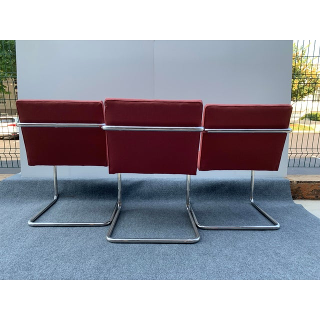 Thonet 1970s Chrome Cantilever Chairs Attributed to Thonet - Set of 3 For Sale - Image 4 of 12