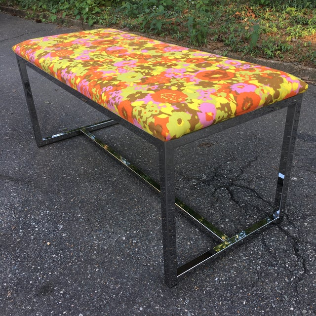 Boho Chic Mid-Century Upholstered Chrome Bench For Sale - Image 3 of 7