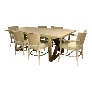 Modern Beige and Brass Finished Dining Set For Sale