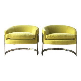 Pair of Milo Baughman Chromium Steel Framed Tub Chairs 1970s For Sale