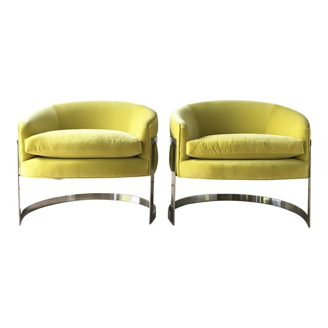Pair of Milo Baughman Chromium Steel Framed Tub Chairs 1970s For Sale
