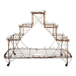 1900s Victorian English Wire Plant Stand For Sale