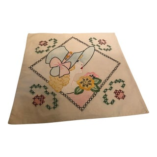 1930s Vintage Embroidered Young Woman Pillow Cover For Sale