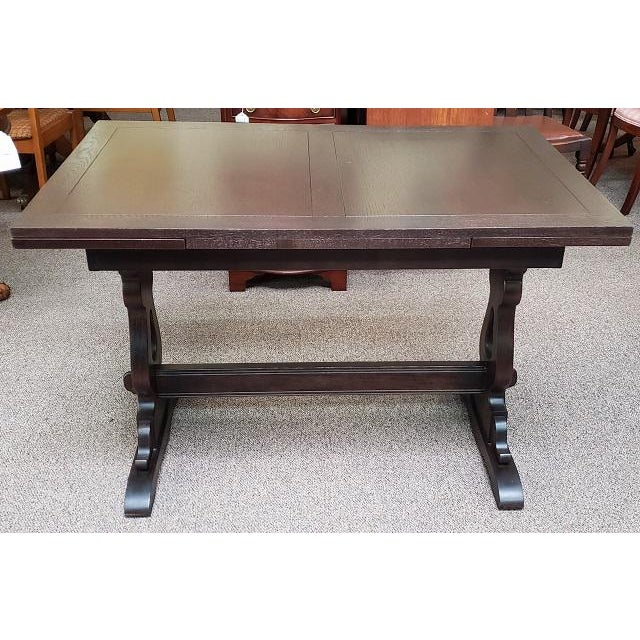English Oak Trestle Base Draw Leaf Dining Table C.1940 For Sale In San Francisco - Image 6 of 7