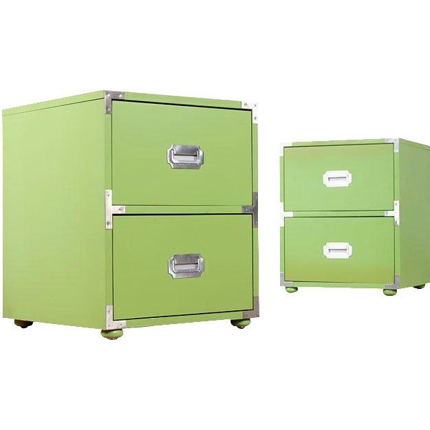 Vintage Campaign Nightstands in Lime - A Pair - Image 1 of 6