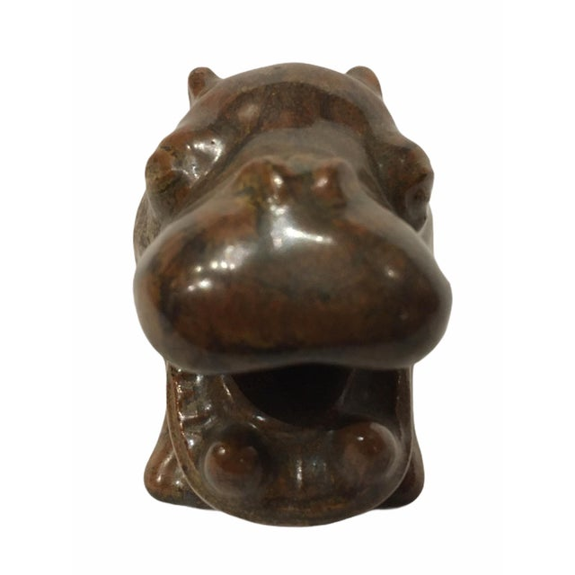 Mid-Century Modern Vintage L. Hjorth Ceramic Hippo by Gertrud Kudielka, Denmark For Sale - Image 3 of 11