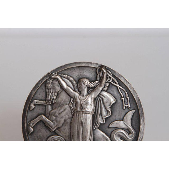 Metal Art Deco French Normandie Medallion by Jean Vernon Silvered Bronze For Sale - Image 7 of 11