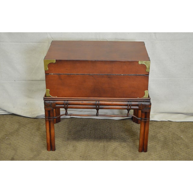 Craftwork Gilt Campaign Style Lidded Accent Chest on Bamboo Frame For Sale - Image 4 of 10