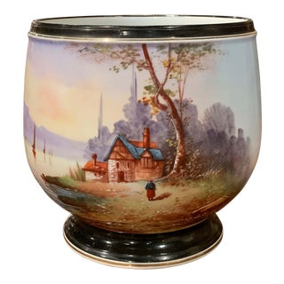 19th Century French Napoleon III Hand Painted Porcelain De Paris Cache-Pot For Sale