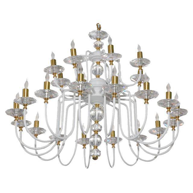 Gold White Painted and Brass Chandelier For Sale - Image 8 of 8