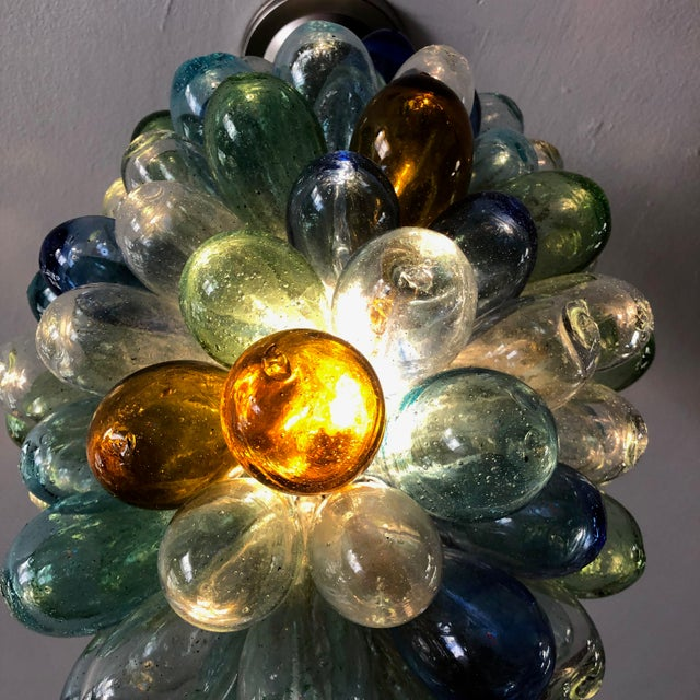 Metal Colorful Balloon Shape Handblown Glass Light Fixture For Sale - Image 7 of 9