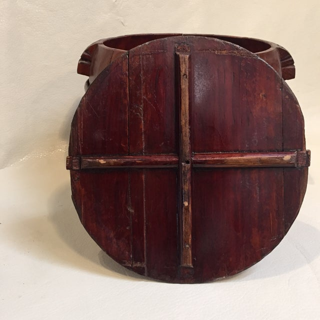 Red Asian Grain Bucket W/ Lid For Sale - Image 8 of 9