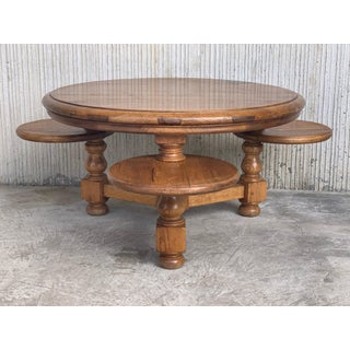20th Round Country Coffee or Picnic Table With Three Auxiliars Tables or Stools Preview